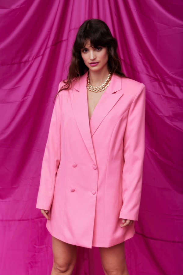 Nasty Gal Womens Double Breasted Oversized Blazer Dress - Pink - 8