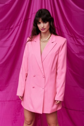 Nasty Gal Womens Double Breasted Oversized Blazer Dress - Pink - 4