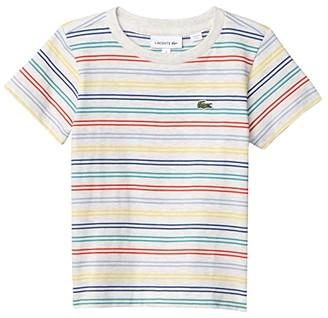 Lacoste Kids Multicolor Stripes Tee Shirt (Toddler/Little Kids/Big Kids) (Alpes Grey Chine/Multicolor) Boy's Clothing