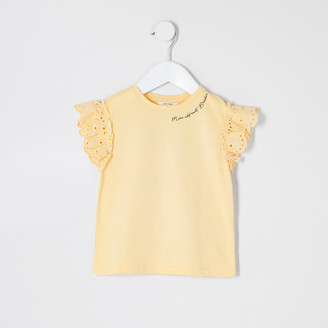 River Island Mini girls yellow broderie sleeve T-shirt