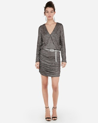 Express Metallic Ruched Surplice Mini Dress