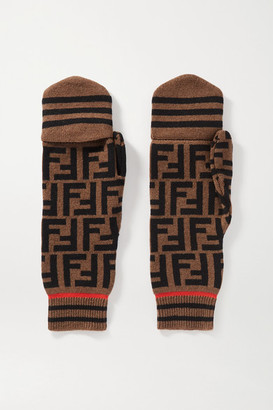 Fendi Intarsia Cashmere And Wool-blend Mittens - Brown