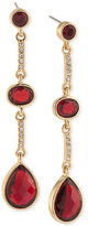 Carolee Gold-Tone Burgundy Stone and Pavé Linear Drop Earrings
