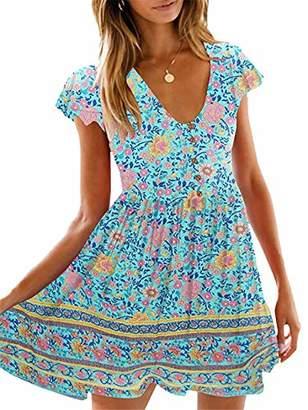 KIRUNDO Women's 2019 Summer Hot Short Sleeve V-Neck High Waist Floral Print Mini Boho Sun Dress with Button (