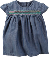 Carter's Cap-Sleeve Embroidered Denim Top - Preschool Girls 4-6x