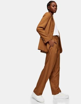 Topshop peg leg suit trousers in camel