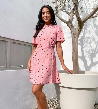 New Look Petite mini tea dress in pink polka dot