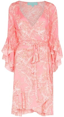 Melissa Odabash Kirsty ruffled palm-print wrap dress