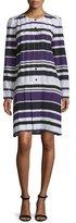 J. Mendel Striped Pleated-Front Drop-Waist Dress