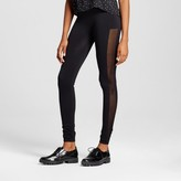 Xhilaration Women's Mesh Tux Stripe Leggings Black