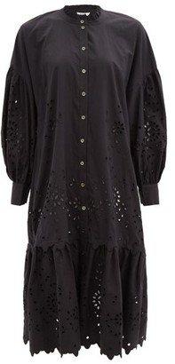 Sea Fern Broderie-anglaise Cotton-poplin Shirtdress - Black