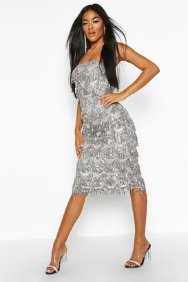 boohoo Sequin Tassel Bandeau Midi Dress