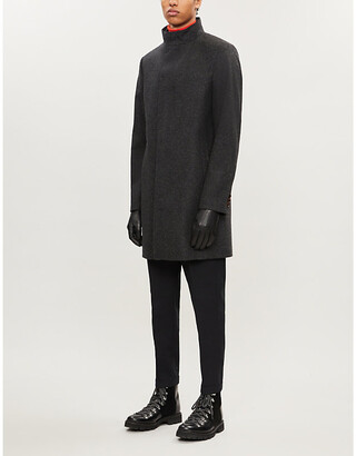 Ted Baker Margate high-neck single-breasted wool-blend coat