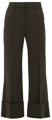 Stella McCartney Flared Twill Cropped-leg Trousers - Womens - Dark Green