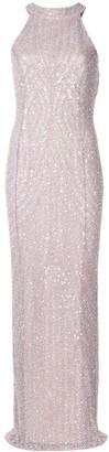 Rachel Gilbert Halterneck Sequin-Embellished Gown