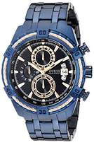 GUESS Men's U0522G3 Iconic Blue & Rose Gold-Tone Stainless Steel Chronograph Watch with Date Function