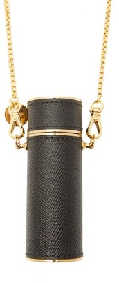 Prada Saffiano-leather Lipstick-case Necklace - Womens - Black