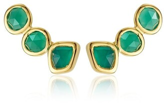Monica Vinader Siren Climber Green Onyx earrings