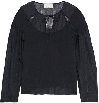 3.1 Phillip Lim Tie-detailed Cutout Crinkled Cotton And Silk-blend Blouse