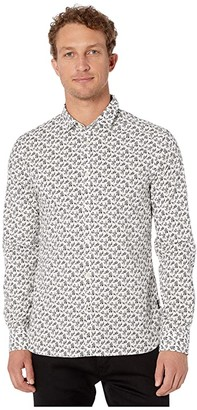 John Varvatos Fulton Long Sleeve Sport Shirt, Clean Front, Button Closure W671V3B (Black/White) Men's Clothing