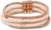 Betsey Johnson Rose Gold-Tone Layered Crystal Mesh and Coil Bracelet