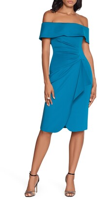 Xscape Evenings Off the Shoulder Side Ruched Scuba Crepe Cocktail Dress