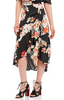 Band of Gypsies Large Floral Faux Wrap Skirt