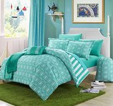 10 Piece Girls Teen Aqua Geometric Themed Comforter Full Set, Beautiful Multi Hexagon Pattern, Stylish Horizontal Striped Bedding, All Over Vertical Stripes, Fun Diamond Style, Teal Blue White