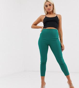 Asos DESIGN Petite high waist trousers in skinny fit-Green