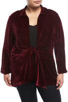 Neiman Marcus Velvet Tie-Front Blouse, Plus Size