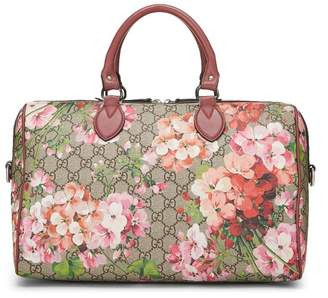 Gucci Pink GG Blooms Supreme Canvas Boston Bag