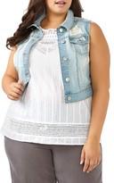 Plus Size Women's Addition Elle Love And Legend Distressed Crop Denim Vest