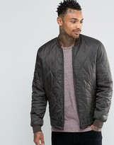 Asos Bomber Jacket In Quilted Ripstop in Khaki