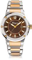Salvatore Ferragamo F-80 Silver Stainless Steel and Rose Gold IP Men's Bracelet Watch w/Brown Dial