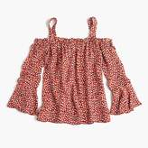J.Crew Tall silk cold-shoulder top in heart print