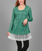 Aster Mint Green Lace-Trim Tunic