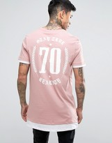 Asos Super Longline T-shirt With Crest Back Print And Contrast Cuff And Hem In Pink