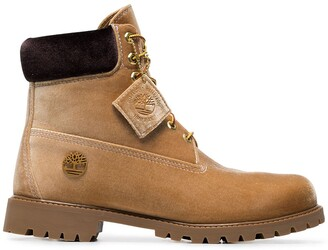 Off-White X Timberland velvet camel boots