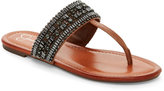 Jessica Simpson Burnt Umber Rollison Jeweled Flat T-Strap Sandals