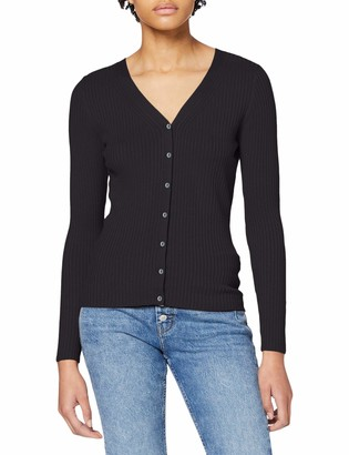 Dorothy Perkins Women's Black Fitted Rib Cardigan Sweater 20