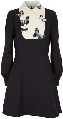 Valentino Butterfly-Embroidered Dress