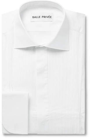 Privee SALLE White Mavis Cutaway-Collar Bib-Front Cotton-Poplin Tuxedo Shirt
