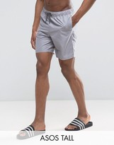 Asos TALL Swim Shorts In Gray In Mid Length