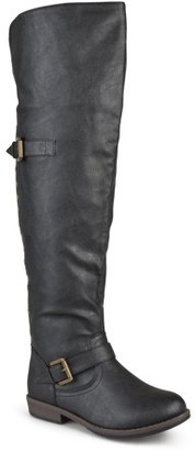 Brinley Co. Women's Wide Calf Over-the-knee Buckle Studded Boots