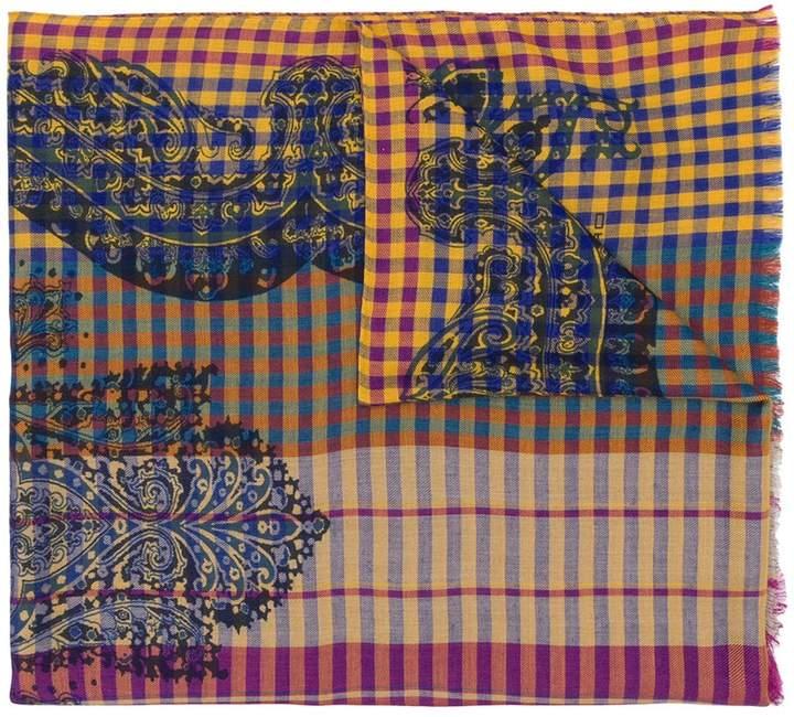 Etro gingham paisley scarf