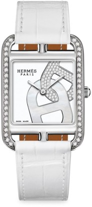 Hermes Cape Cod 29MM Diamond, Stainless Steel & Alligator Strap Watch