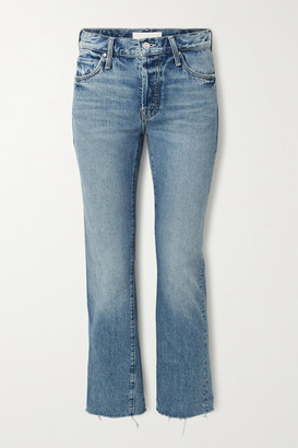 Mother The Scrapper Frayed Mid-rise Straight-leg Jeans - Blue