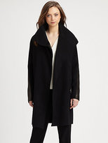Vince Leather-Accented Asymmetrical Coat