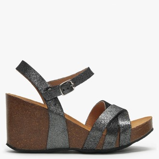 Daniel Beverlywood Pewter Metallic Leather Wedge Sandals