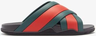 Gucci Web-stripe Rubber Slides - Green Multi